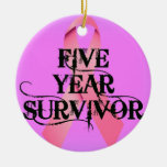 Breast Cancer 5 Year Survivor Ceramic Ornament