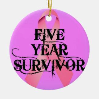 Breast Cancer 5 Year Survivor Ceramic Ornament