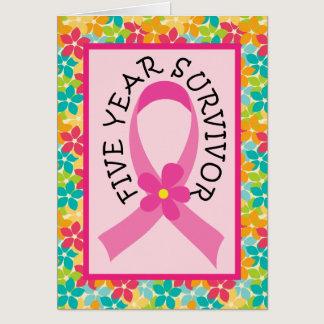 Breast Cancer 5 Year Survivor Pink Ribbon Card