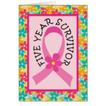 Breast Cancer 5 Year Survivor Pink Ribbon Greeting Card