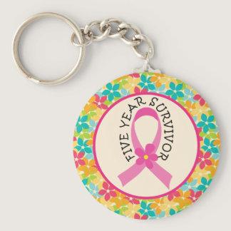 Breast Cancer 5 Year Survivor Ribbon Gift Keychain
