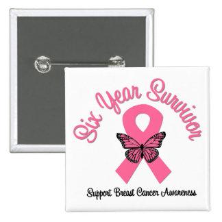 Breast Cancer 6 Year Survivor Pin