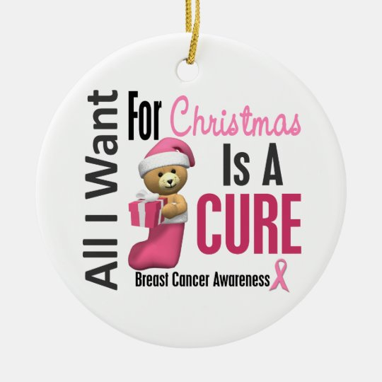 Breast Cancer All I Want For Christmas Ornaments