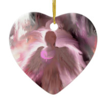 Breast Cancer Angel Ceramic Ornament
