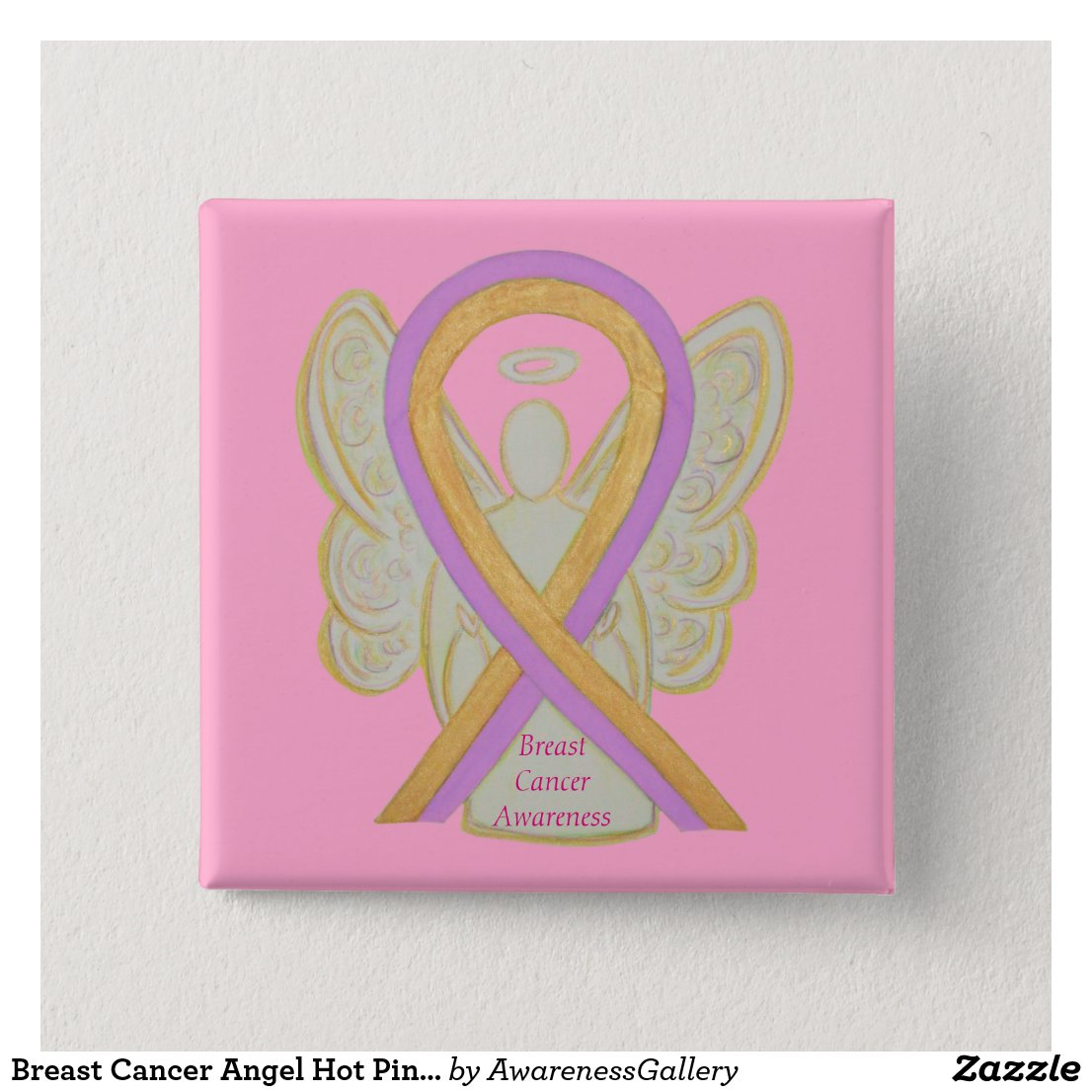 Breast Cancer Angel Hot Pink Awareness Ribbon Pins