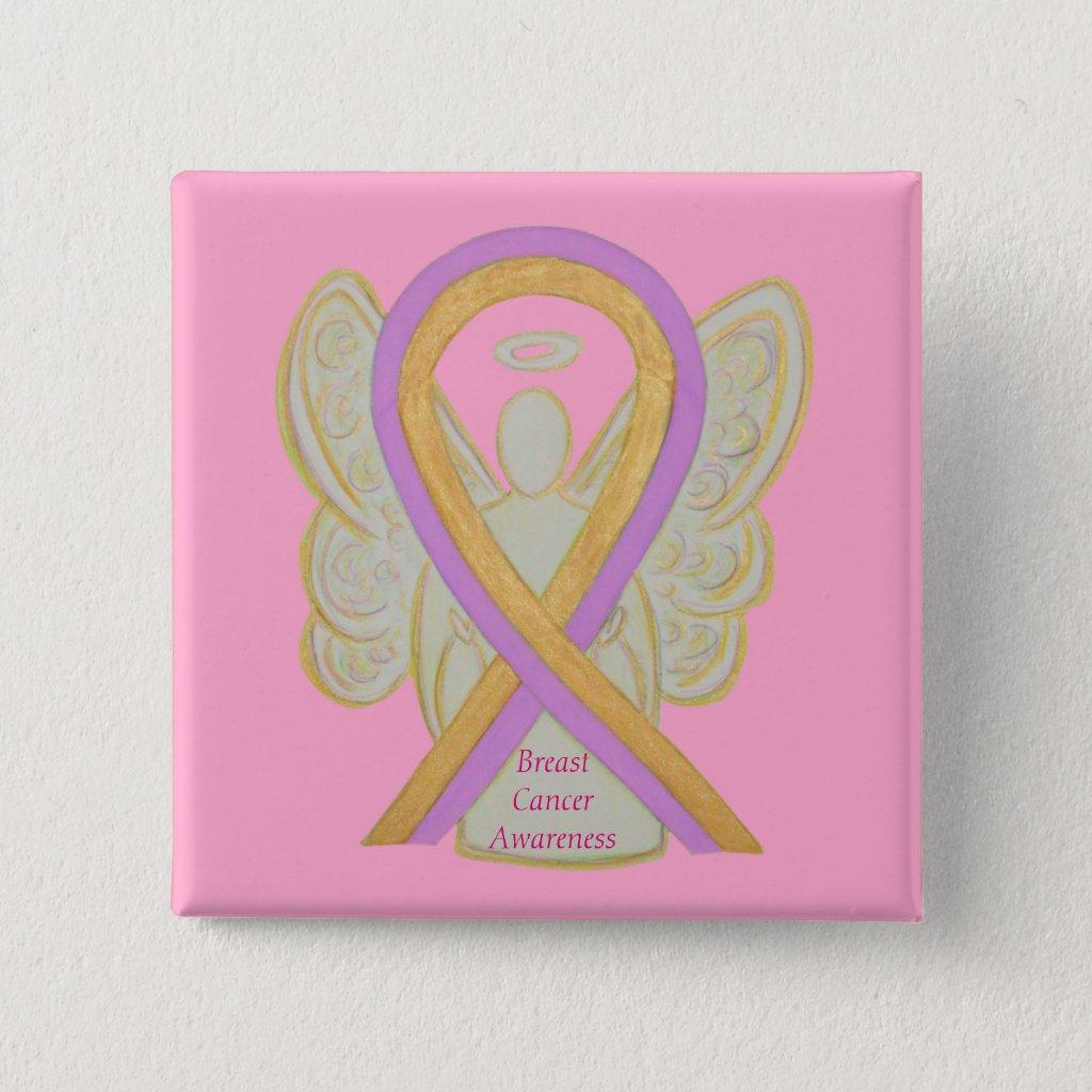 Breast Cancer Angel Hot Pink Awareness Ribbon Pins