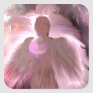 Breast Cancer Angel Square Sticker