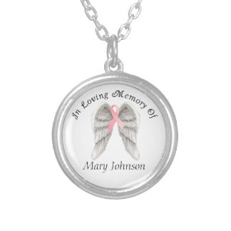 Breast Cancer Angel Wings Memory Necklaces