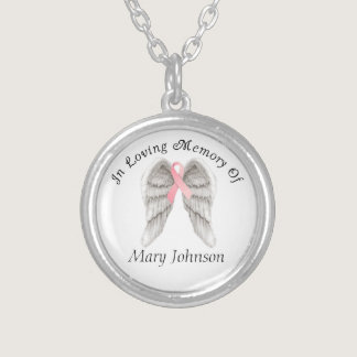 Breast Cancer Angel Wings Memory Silver Plated Necklace