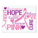 Breast Cancer Awareness 4.25x5.5 Paper Invitation Card