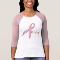 Breast Cancer Awareness Believe Ladies Pink Raglan T-Shirt