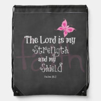 Breast Cancer Awareness Bible Verse Drawstring Bag