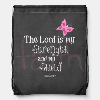 Breast Cancer Awareness Bible Verse Drawstring Bag