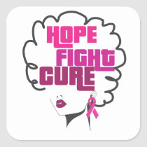 Breast Cancer Awareness Black Queen Pink Ribbon Square Sticker
