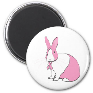 BREAST CANCER AWARENESS BUNNY 2 INCH ROUND MAGNET