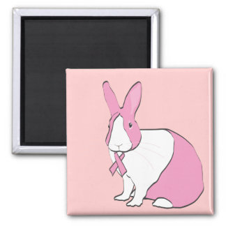BREAST CANCER AWARENESS BUNNY 2 INCH SQUARE MAGNET