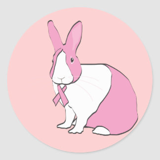 BREAST CANCER AWARENESS BUNNY CLASSIC ROUND STICKER