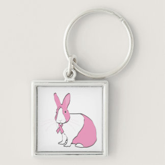 BREAST CANCER AWARENESS BUNNY KEYCHAIN