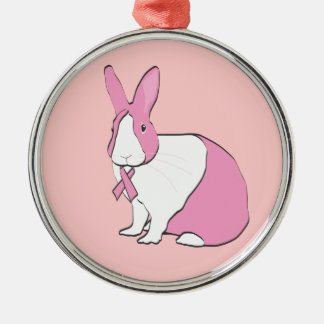 BREAST CANCER AWARENESS BUNNY METAL ORNAMENT