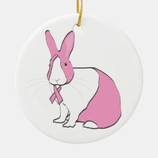 BREAST CANCER AWARENESS BUNNY Double-Sided CERAMIC ROUND CHRISTMAS ORNAMENT