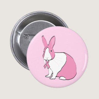 BREAST CANCER AWARENESS BUNNY PINBACK BUTTON