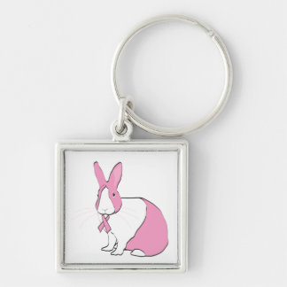 BREAST CANCER AWARENESS BUNNY Silver-Colored SQUARE KEYCHAIN