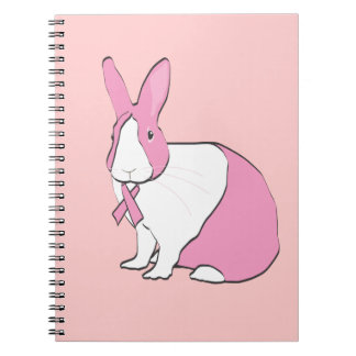 BREAST CANCER AWARENESS BUNNY SPIRAL NOTE BOOK