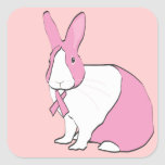 BREAST CANCER AWARENESS BUNNY SQUARE STICKER