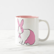 BREAST CANCER AWARENESS BUNNY Two-Tone COFFEE MUG