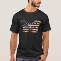 Breast cancer Awareness Butterfly American flag T-Shirt