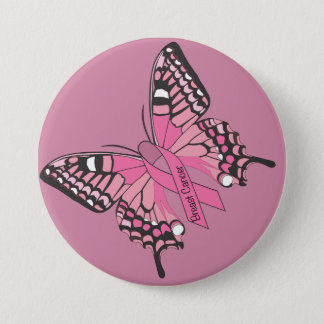 Breast Cancer Awareness Butterfly Button