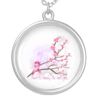 Breast Cancer Awareness Cherry Blossom Necklace