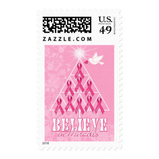 Breast Cancer Awareness Christmas Pink Ribbon Tree Stamps