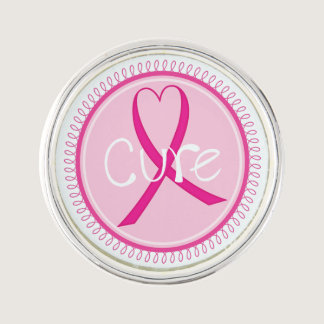 Breast Cancer Awareness Cure Ribbon Lapel Pin
