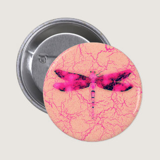 Breast Cancer Awareness Dragonfly Pinback Button