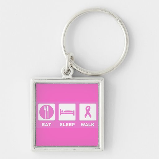 Breast cancer  Awareness eat sleep walk Silver-Colored Square Keychain