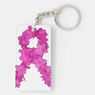 Breast Cancer Awareness Flower Ribbon Keychain