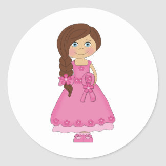 Breast Cancer Awareness Girl Classic Round Sticker