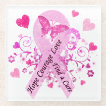 Breast Cancer Awareness Glass Coaster