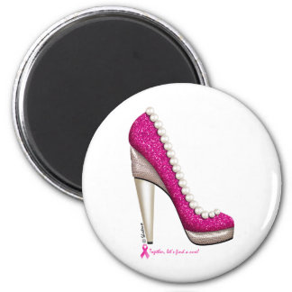 Breast Cancer Awareness Glitter Pearl Pump 2 Inch Round Magnet