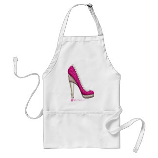 Breast Cancer Awareness Glitter Pearl Pump Adult Apron