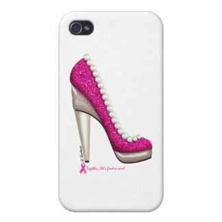 Breast Cancer Awareness Glitter Pearl Pump Case For iPhone 4