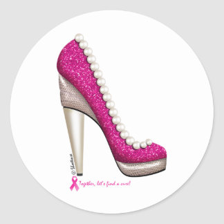Breast Cancer Awareness Glitter Pearl Pump Classic Round Sticker