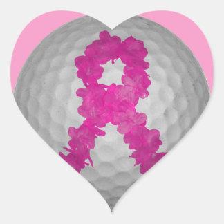 Breast Cancer Awareness Golf Ball Heart Sticker
