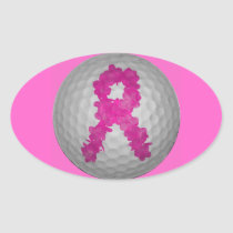 Breast Cancer Awareness Golf Ball Oval Sticker