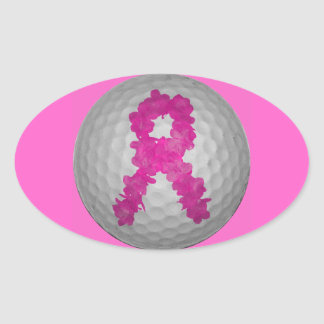 Breast Cancer Awareness Golf Ball Oval Sticker