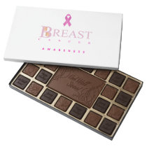 Breast cancer awareness graphic in pink colors 45 piece box of chocolates
