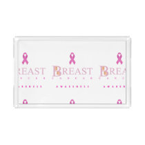 Breast cancer awareness graphic in pink colors acrylic tray