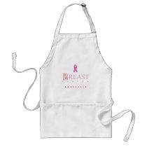 Breast cancer awareness graphic in pink colors adult apron