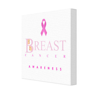 Breast cancer awareness graphic in pink colors canvas print